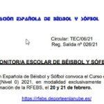 CURSO DE MONITOR/A ESCOLAR DE BÉISBOL Y SÓFBOL (NIVEL 0) 2021
